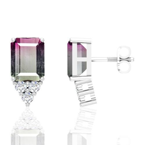 14K White Gold 4.75 cts Tourmaline Stone Diamond Designer Fine Jewelry Ladies Earrings