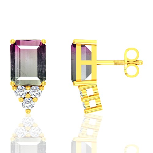 18k Yellow Gold 4.75 cts Tourmaline Stone Diamond Designer Fine Jewelry Ladies Earrings