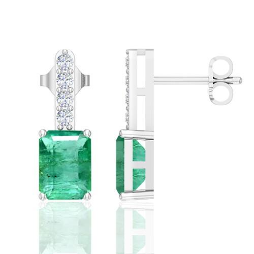 14K White Gold 3.92 cts Emerald Stone Diamond Designer Ladies Earrings
