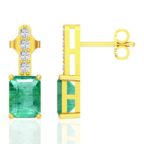 18k Yellow Gold 3.92 cts Emerald Stone Diamond Designer Ladies Earrings