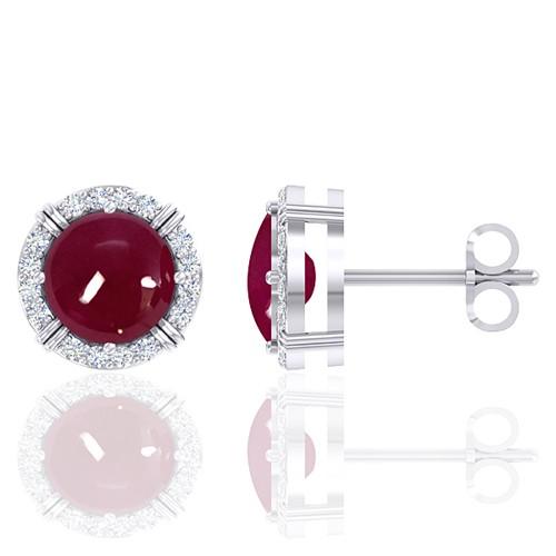 14K White Gold 4.08 cts Ruby Gemstone Diamond Designer Fine Jewelry Women Earrings