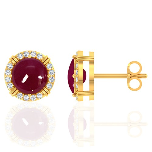 18K Yellow Gold 4.08 cts Ruby Gemstone Diamond Designer Fine Jewelry Women Earrings