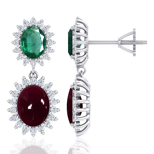 14K White Gold 5.5 Ruby cts 1.94 Emerald Stone Diamond Women Earrings