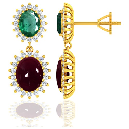 18K Yellow Gold 5.5 Ruby cts 1.94 Emerald Stone Diamond Women Earrings