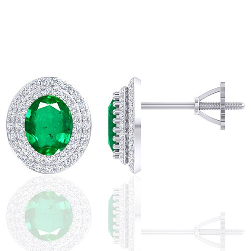 14K White Gold 2.37 cts Emerald Gemstone Diamond Designer Fine Jewelry Ladies Earrings