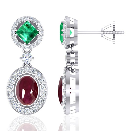 14K White Gold 4.07 cts Ruby 1.05 cts Emerald Gemstone Diamond Designer Fine Jewelry Earrings