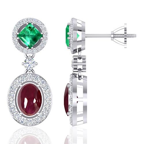14K White Gold 4.07 cts Ruby 1.05 cts Emerald Gemstone Diamond Designer Fine Jewelry Earrings