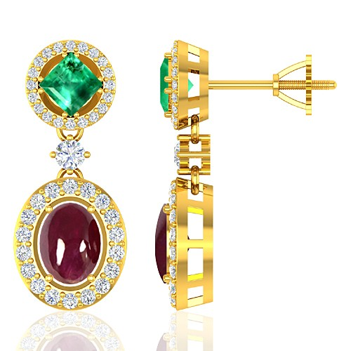 18K Yellow Gold 4.07 cts Ruby 1.05 cts Emerald Gemstone Diamond Designer Fine Jewelry Earrings