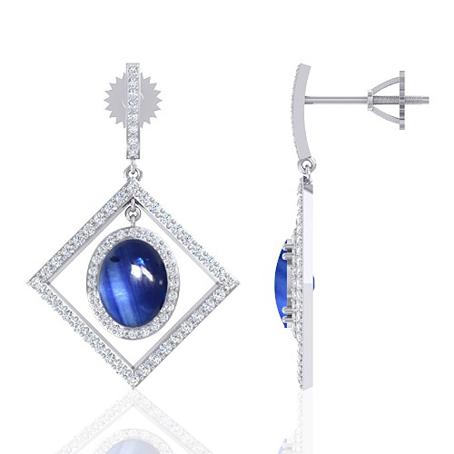 14K White Gold 6.12 cts Sapphire Stone Diamond Designer Fine Jewelry Women Earrings