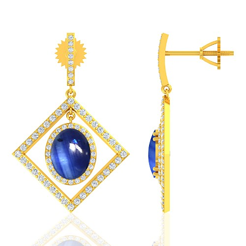 18K Yellow Gold 6.12 cts Sapphire Stone Diamond Designer Fine Jewelry Women Earrings