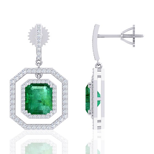 14K White Gold 4.64 cts Emerald Gemstone Diamond Designer Fine Jewelry Women Earrings