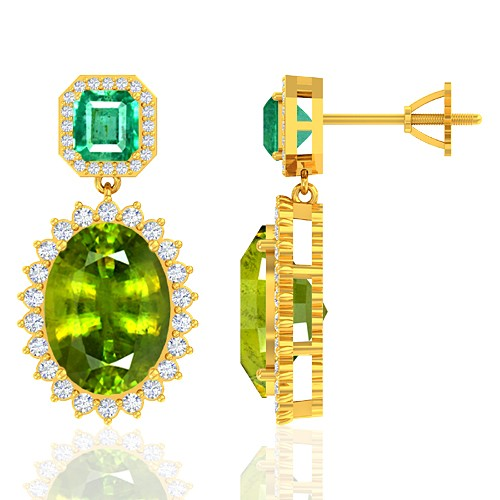 18K Yellow Gold 13.64 cts Sphene 1.91 cts Emerald Stone Diamond Designer Women Earrings
