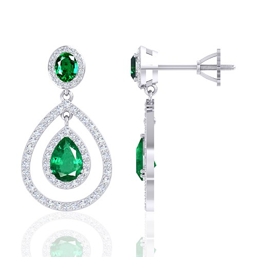 14K White Gold 1.95 cts Emerald Gemstone Diamond Designer Fine Jewelry Women Earrings