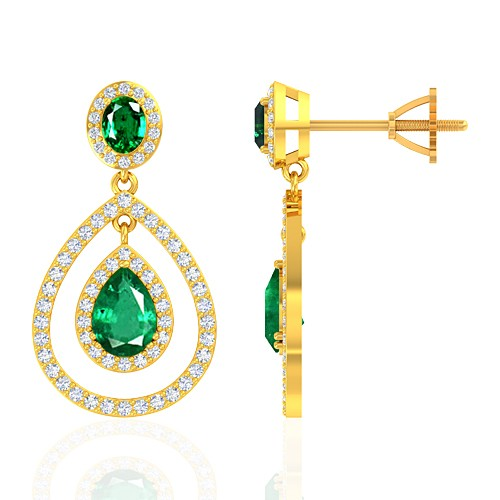 18K Yellow Gold 1.95 cts Emerald Gemstone Diamond Designer Fine Jewelry Women Earrings