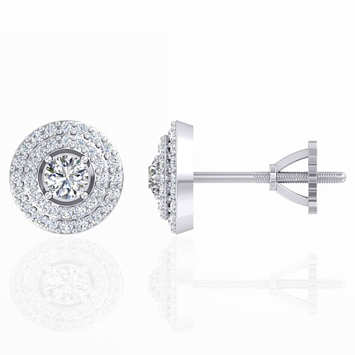 14K White Gold 0.38 cts Main stone Diamond with Diamond Designer Fine Jewelry Earrings