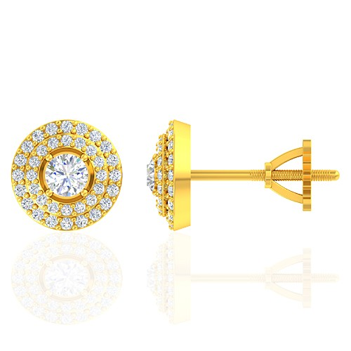 18K Yellow Gold 0.38 cts Main stone Diamond with Diamond Designer Fine Jewelry Earrings