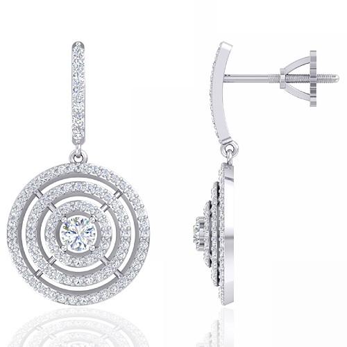 14K White Gold 0.38 cts Main stone Diamond with Diamond Designer Fine Women Earrings