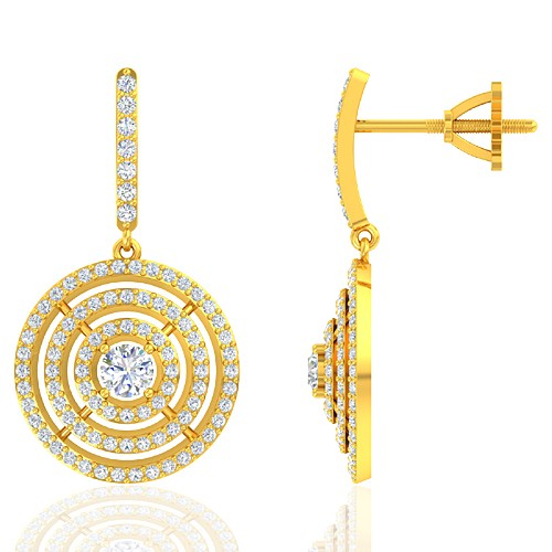 18K Yellow Gold 0.38 cts Main stone Diamond with Diamond Designer Fine Women Earrings