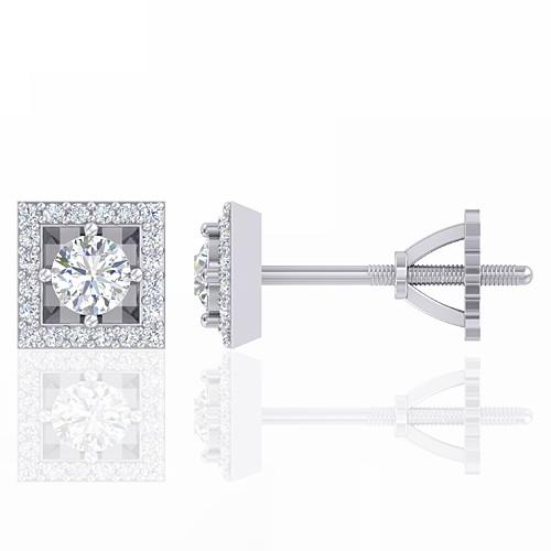 14K White Gold 0.38 cts Diamond Designer Fine Jewelry Women Earrings
