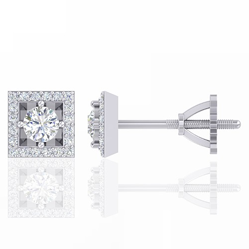 14K White Gold 0.38 cts Diamond Designer Fine Jewelry Women Earrings