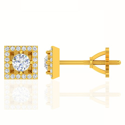 18K Yellow Gold 0.38 cts Diamond Designer Fine Jewelry Women Earrings