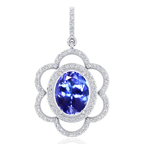 14K White Gold 2.33 cts Tanzanite Gemstone Diamond Designer Fine Jewelry Pendant