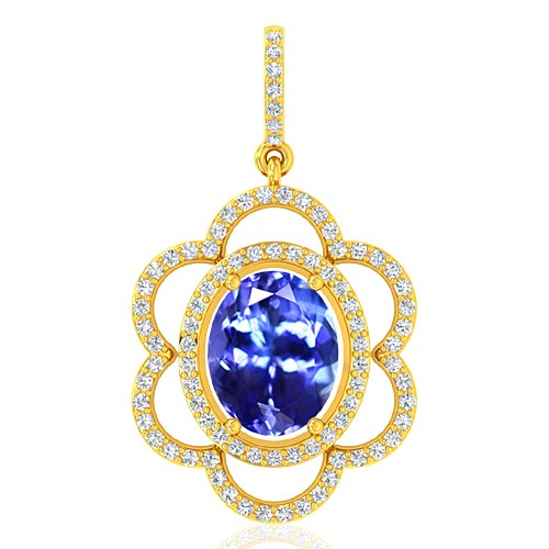 18k Yellow Gold 2.33 cts Tanzanite Gemstone Diamond Designer Fine Jewelry Pendant