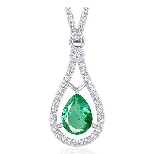 14K White Gold 0.94 cts Untreated Emerald Stone Diamond Designer Fine Jewelry Pendant