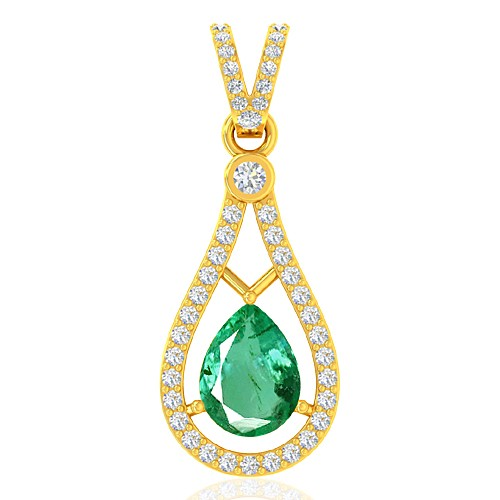 18k Yellow Gold 0.94 cts Untreated Emerald Stone Diamond Designer Fine Jewelry Pendant