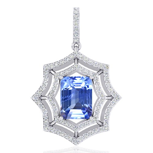 14K White Gold 4.12 cts Blue Sapphire Gemstone Diamond Designer Fine Jewelry Pendant