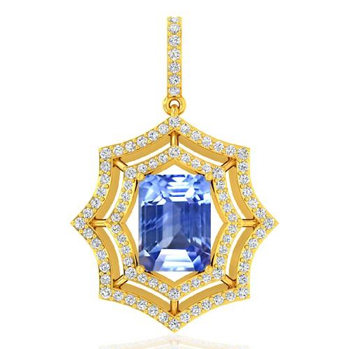 18k Yellow Gold 4.12 cts Blue Sapphire Gemstone Diamond Designer Fine Jewelry Pendant