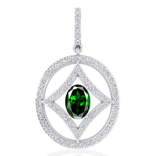 14K White Gold 0.77 cts Oval Cut Tsavorite Gem Diamond Designer Fine Jewelry Pendant