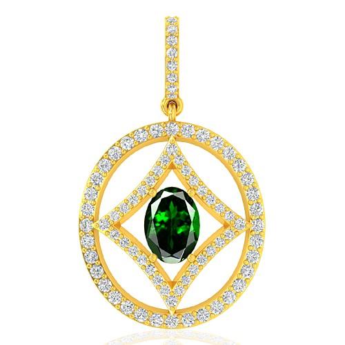 18k Yellow Gold 0.77 cts Oval Cut Tsavorite Gem Diamond Designer Fine Jewelry Pendant