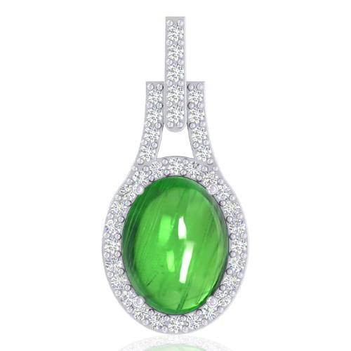 14K White Gold 2.51 cts Oval Cab Tsavorite Gemstone Diamond Designer Fine Pendant
