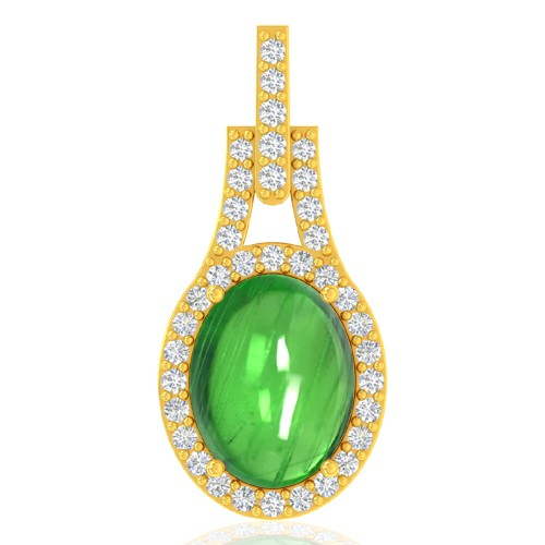 18k Yellow Gold 2.51 cts Oval Cab Tsavorite Gemstone Diamond Designer Fine Pendant