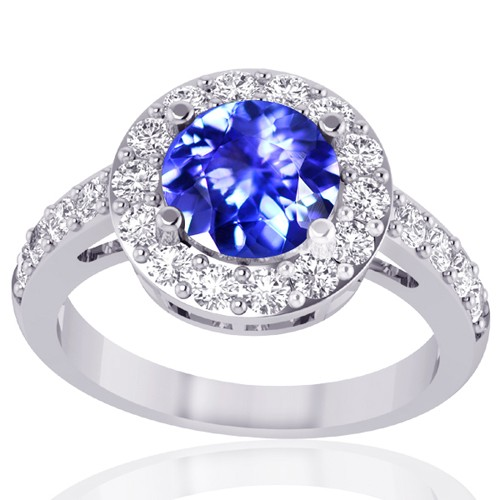 18k White Gold Tanzanite Diamond Engagement Women Designer Wedding Ring
