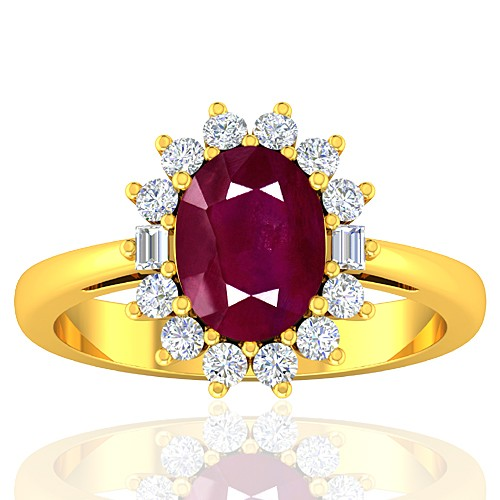 18K Yellow Gold Ruby Gemstone Diamond Cocktail Designer Fine Jewelry Ring