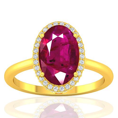 18K Yellow Gold Ruby Gemstone Diamond Women Wedding Designer Fine Jewelry Ring