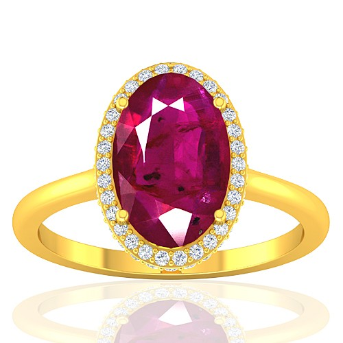 18K Yellow Gold Ruby Gemstone Diamond Women Wedding Designer Fine Jewelry Ring