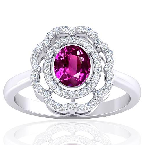 14K White Gold Pink Sapphire Gemstone Diamond Cocktail Vintage Engagement Ring