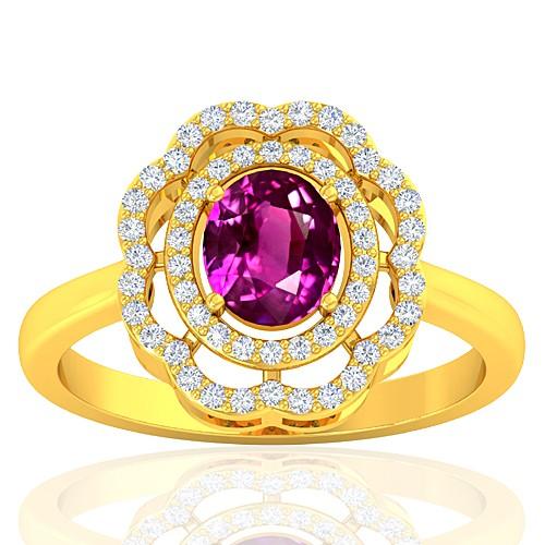 18K Yellow Gold Pink Sapphire Gemstone Diamond Cocktail Vintage Engagement Ring