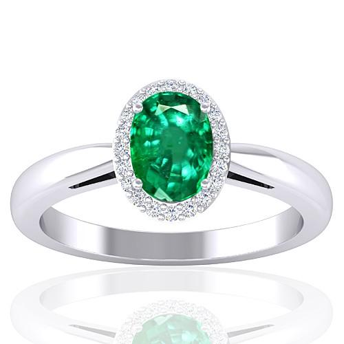 14K White Gold Emerald Gemstone Diamond Women Engagement Designer Fine Jewelry Ring