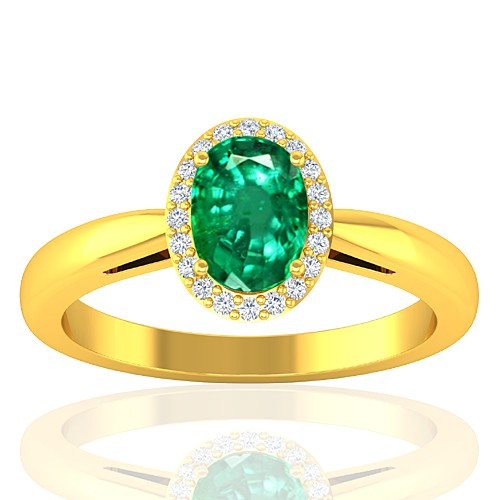 18K Yellow Gold Emerald Gemstone Diamond Women Engagement Designer Fine Jewelry Ring