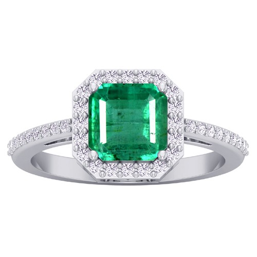 14k White Gold 1.6 cts 7x7 mm Emerald Diamond Women Designer Wedding Ring