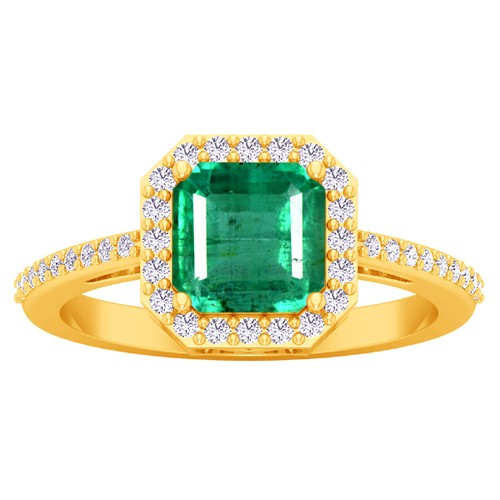 18k Yellow Gold 1.6 cts 7x7 mm Emerald Diamond Women Designer Wedding Ring