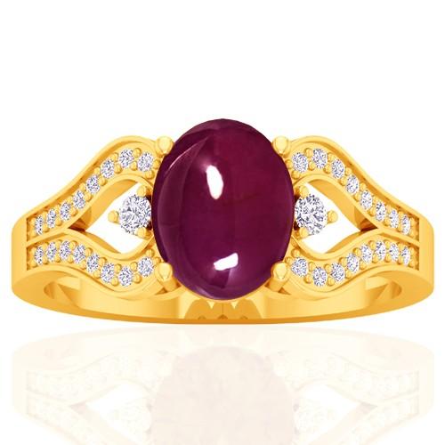 18k Yellow Gold Ruby Unheated Diamond Engagement Women Designer Ring