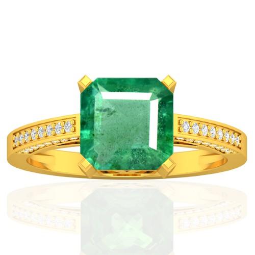 18k Yellow Gold 8 mm Emerald Diamond Vintage Engagement Women Designer Ring