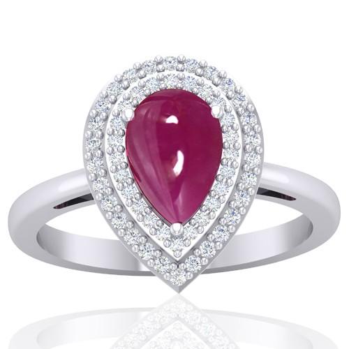 14k White Gold 1.78 Ruby Diamond  Women Designer Wedding Fine Jewelry Ring