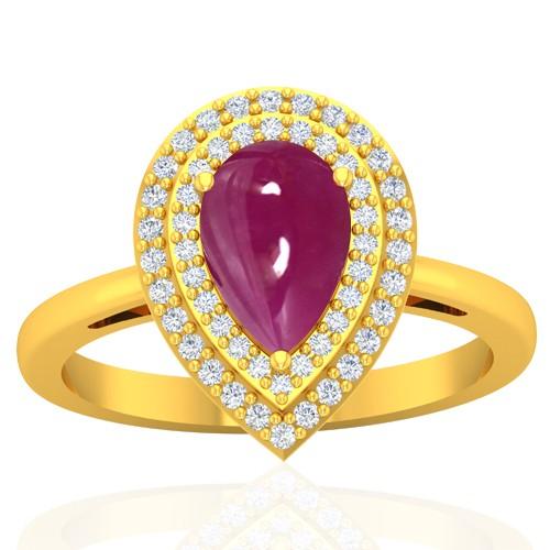18k Yellow Gold 1.78 Ruby Diamond  Women Designer Wedding Fine Jewelry Ring