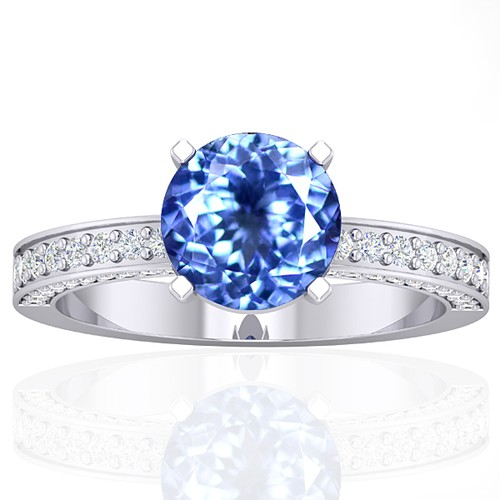 14k White Gold 1.93 cts Round Tanzanite Diamond Wedding Designer Fine Jewelry Ring